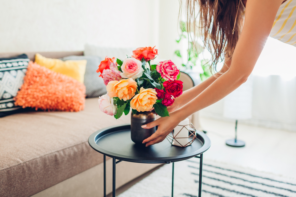 Place surprise bouquet in room